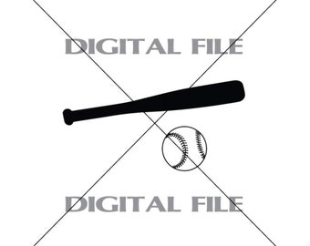 Baseball Bat And Baseball Vector Art Vinyl Decal T-shirt Digital Cutting Files ,Svg, Ai, Eps, Dxf