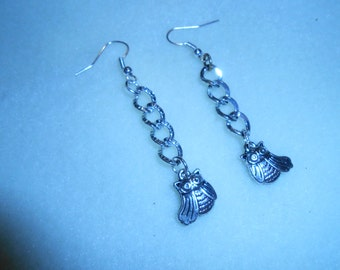 Silver Chain and Owl Dangle Earrings