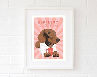 Sausage dog gifts for Mom Coffee lovers gift pop art print gift for women Dog Mom gifts Fur mama dog portrait Hound dog gift for girlfriend