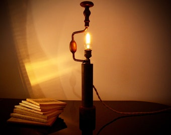 Table lamp Hand Drill start ' 900 in wood and iron with pedestal-Made in Italy
