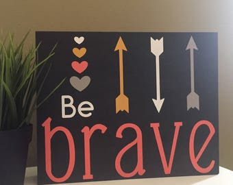 Be Brave Nursery Sign. Handpainted Nursery Sign. Nursery Decor. Coral & Gray Nursery Decor