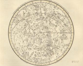 Canvas map star print- Southern Celestial Hemisphere map print - Antique Star Map- Wall Zodiac Map- Astrology Celestial Map