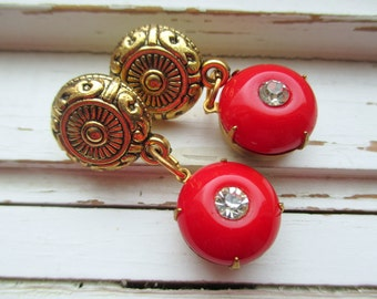 Roman Holiday Earrings, Sexy Red Hot Vintage Glass Jewel and Rhinestone Post Earrings