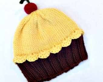 Cupcake Hat with Cherry on Top Lemon Yellow Frosting with Dark Chocolate Brown Cake Adults Teens Children Baby Toddler