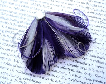 DREAM in Dark Purple and Gray Peacock Feather Hair Clip, Feather Fascinator