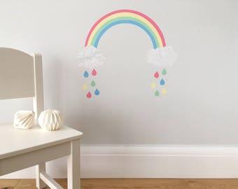 Rainbow Wall Sticker, Rainbow Decal, Rainbow and Clouds, Rainbow Raindrops, Rainbow Wall Art, Rainbow Decor, Pastel Rainbow, Girls Bedroom