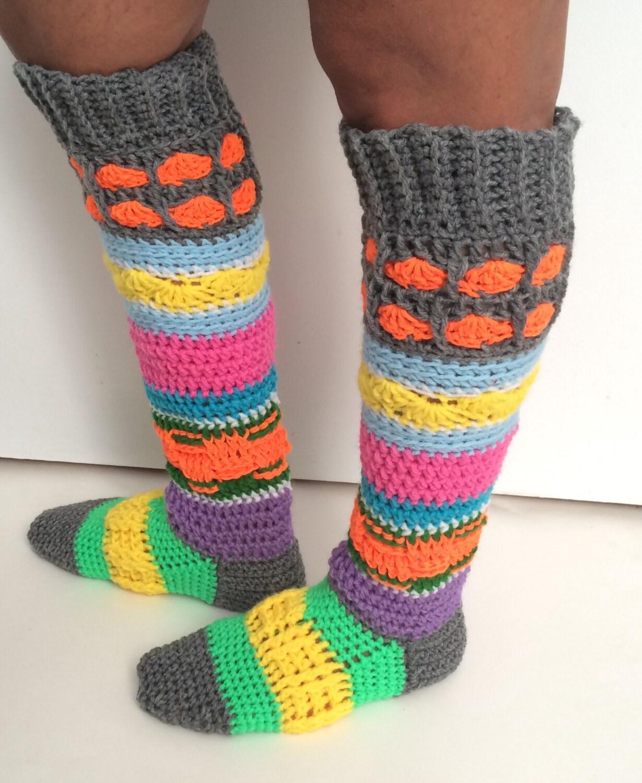 PATTERN: Crochet Knee High Socks Pattern PDF, Super Colourful Socks ...