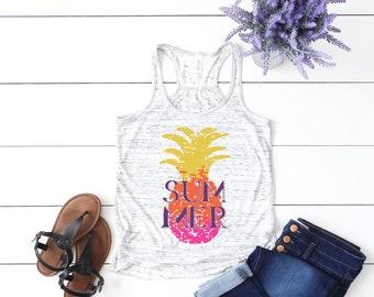 Ombre Pineapple Summer Fun vintage style Flowy Racerback womens' Tank Top