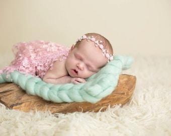 Pink Lace Fringe Wrap and Headband Set, Newborn Photo Prop, Baby Girl Prop, Baby Bling, Rhinestone Headband and Wrap Set