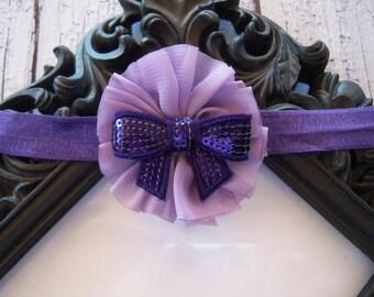 Purple Galore Baby Newborn Flower Headband  ~ Baby Newborn Photo Prop ~ Baby Headband