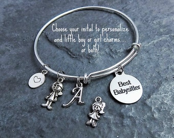 Babysitter Gift - Best Babysitter Charm Bracelet - Babysitting - Expandable Bangle - Gift for Babysitter - Thank You Gift - Personalized