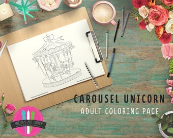 Carousel Coloring Page - Printable Unicorn Carousel Coloring Page - Downloadable Carousel Coloring Page - Digital Adult Coloring Page