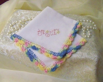 Flower Girl Handkerchief,Hanky, Bridal Party Gift, Hand Crochet, Embroidered, Personalized,Wedding Hanky, Ready to ship