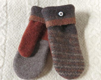 SALE - Repurposed Sweater Wool Mittens in Brown and Rust, Eco-Friendly Felted Wool Mittens, Adult Size