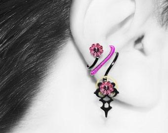 Steampunk Ear Cuff, No Piercing, Cartilage Earring, Swarovski Crystal Ear Cuff, Statement Jewelry, Wire Wrapped, Eileithyia III v6
