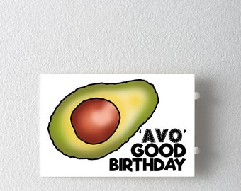 Avocado Pun Birthday Card, Pun Birthday Greeting Card, Avo Good Birthday Greeting Card, Punny Card, Funny Birthday Card, Vegetable Card