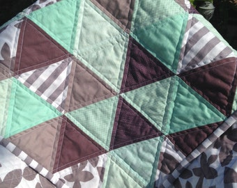 Pastel Turquoise and Purple Baby Triangle Quilt