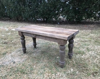Custom Farmhouse Bench, Rustic Bench, Farm Table Bench, Turned Legged Bench, Wooden Bench, Entryway Bench, Kitchen Bench