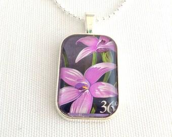 wildflower necklace, postage stamp jewellery, Australia 1986, flower pendant