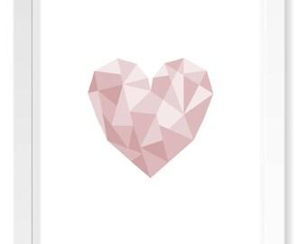 Rose Pink Heart Geometric Print / Baby Girl Nursery Art / Minimal Scandinavian Blush Pink Poster Art