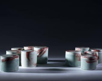 Porcelain Jar, Celadon Glaze with Red. Flat Lid
