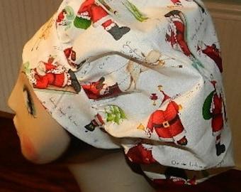 Sledding Santas Banded Bouffant Surgical Cap