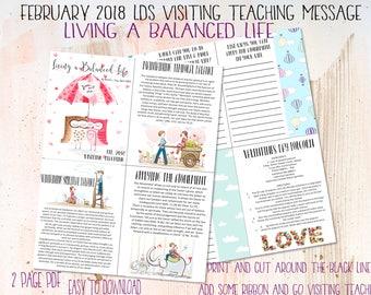 February 2018 LDS Visiting Teaching Printable - Living a Balanced Life