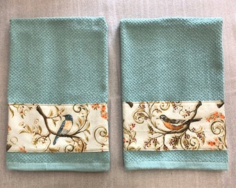 BIRDS FABRIC STRIP Decorative Towel, dish towel, hand towel, #birds, bird lover gift, Mother's day gift, housewarming gift, teal, wildlife