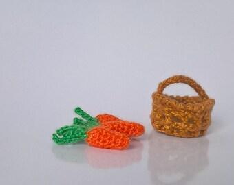 Tiny Crochet  Basket Dollhouse Miniature with goods  1/12
