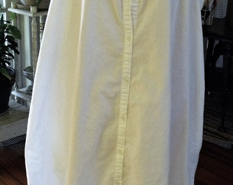 White Ruffled Dress/ Size Large White Cotton Dress/ Retro White Gown-Dress/ Shabbyfab Vintage