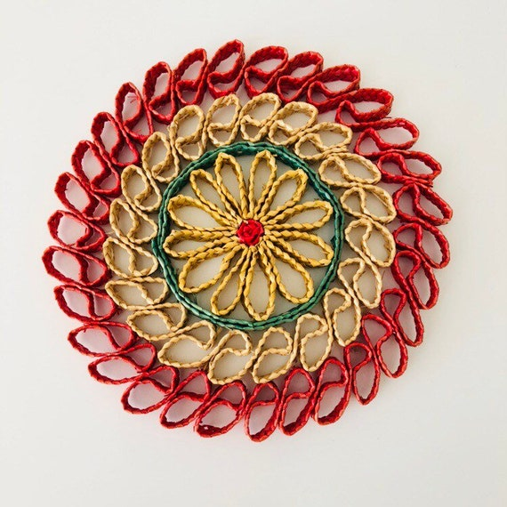 Vintage Pink Floral Trivet Colorful Woven Raffia Green Natural Hot Pad Neutral Plant Coaster