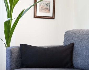 Black long lumbar pillow cover - linen throw pillow - pillowcase - linen lumbar - linen cushion case 14x36 inch  0029