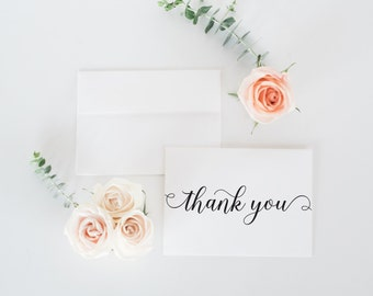 Wedding Thank You Cards, Thank You Note Card Set, Couples Stationery Set, Bridal Shower Thank you - Bridal Thank You Folded Cards