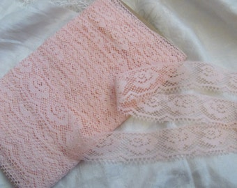 """Lace Pretty Pink Lace Sewing Trim - 1"""" Inch Wide  - 3 Yards Length #01P"""