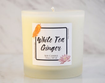 Aromatherapy Luxury Soy Candle - White Tea + Ginger 7 oz Frosted Jar Candle
