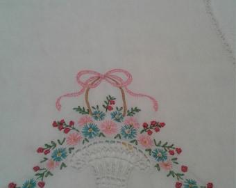 Vintage hand embroidered dresser scarf