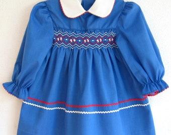 Vintage SMoCKED POLLY FLINDERS DRESS Toddler Girls Size 2T Ric Rac Blue School
