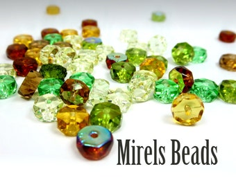 120 pcs Rondelle Bead Mix, Earth Tones Czech Glass Bead Mix, 3x6mm