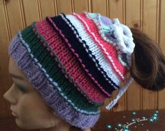 Hat 3 in1 ponytail hat, neck warmer