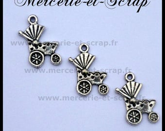 Set of 6 silver charms pendant stroller baby carriage charm bead 12 * 20mm