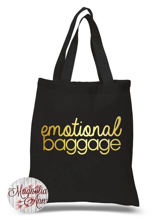 Emotional Baggage, Funny, Canvas Tote Bag in 7 Colors, Handbag, Purse
