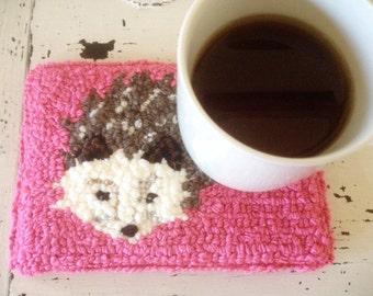 Hedgehog/ hedgehog mug rug / mug rug / coffee mat / coffee / gift for her / coffee lover / coaster / coffee / tea mat / tea / home decor