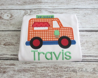 Cute Orange Gingham Ice Cream Truck Appliqued Shirt - Boys, Girls, Embroidered Shirt, Ice Cream, Truck, Toddlers, Baby, Children's Clothing