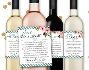 Marriage Milestones Poems Wedding Gift Wine Champagne Bottle Labels First Anniversary Honeymoon Baby Fight Christmas Valentine - Item #MMS1