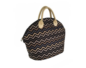 Handbag / Top handle bag / Chevron handbag / Fabric purse / Large purse