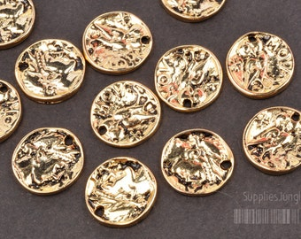 P173-AG// Antique Gold Plated Mov Coin, 6pcs