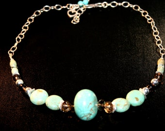 SINAI Turquoise, Smokey Quartz and Sterling Necklace