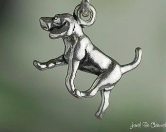 Miniature Sterling Silver Foxhound, Beagle, or Harrier Charm Dog .925