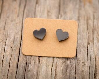 Free SHIPPING WORLDWIDE - Black Heart Earrings - Surgical Steel - Studs - Gift Box - Handmade Bamboo Wood Earrings - Acrylic Studs
