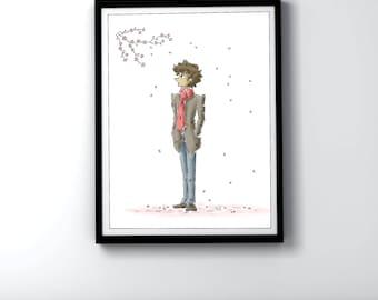 Cherry Blossom Illustration - Art Print - Spring Tree Pink Sakura Petals Wall Art